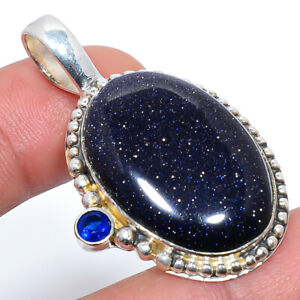 "Blue Sunstone & Blue Sapphire Vintage 925 Sterling Silver Pendant 1.77"" S1910"