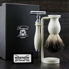 3 Pcs De Safety Razor Set.Men's Shaving Kit With Badger Hair Brush & Dual Stand.