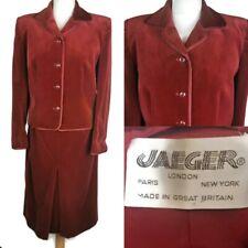 Ladies Vintage JAEGER Red Velvet Cotton Skirt Jacket Suit Made In England UK 14