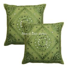 Ethnic Decorative Sofa Cushion Covers Embroidered 16 x 16 Cotton Pillow Cases