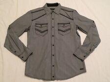 Pre-owned Buckle Black Pearl Snap L/S Slim Fit Dress Shirt Men's Medium