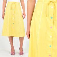 70s Vintage Yellow A Line Skirt Button Front Rockabilly 50s Retro L/XL High Wais