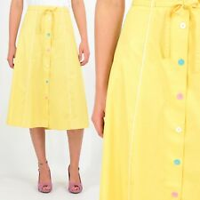 70's Vintage Yellow A Line Skirt Button Front Feminine Rockabilly 50s Retro L XL