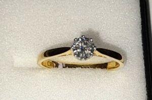 Uk Hallmarked 18ct Yellow Gold .50 Solitaire Diamond Engagement Ring, Sz M/N