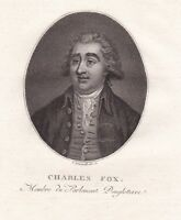 Portrait XVIIIe Charles James Fox Secretary State For Foreign Affairs Révolution