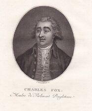 Portrait XVIIIe Charles James Fox Secretary State For Foreign Affairs Révolution