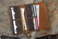 Rustic vintage Leather mens bifold vertical chain wallet biker trucker wallet