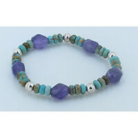 UNISEX .925 Sterling Silver Natural Green Turquoise Amethyst Stretch Bracelet