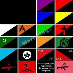 Anarchism Flag 3X5FT Veganarchism Mutualism Islamic CNT-AIT Market Green Egoist
