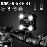 USB Rechargeable LED Bicycle Headlight Bike Head Light Cycling Strobe Lamp+Horn
