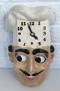 Vintage Chef Face Wall Clock Moving Eyes Herold Products ?