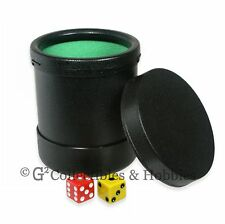 New Black Plastic Dice Cup with Twist Off Lid Green Cloth Lining Yahtzee Koplow
