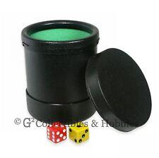 New Black Plastic Dice Cup with Twist Off Lid Green Cloth Lining Yahtzee Koplow