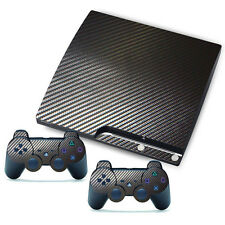 3D Latest Black Carbon Fiber Decal Sticker Skin Cover For Playstation PS3 Slim