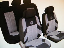 SKODA SUBARU Universal Car Seat Covers Full Set Grey/Black Velour Fabric 14402