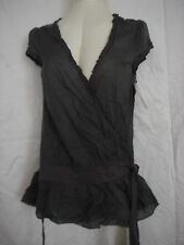 Pretty EYESHADOW Smoke Grey Cotton Wrap Blouse sz M