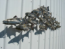 GIANT STAINLESS STEEL SCHOOL OF FISH METAL ART WALL SCULPTURE