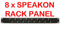 "1U Black Plate Panel 19"" with 8 x Speakon Road Case Server Rack Space Mount 1RU"