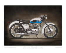 Motorcycle Limited Edition Print - Triumph Bonneville (azure blue)