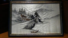 ANTIQUE 19C JAPANESE SILK EMBROIDERY OF PALACE ,FUJI AND BOAT ON WATER,FRAMED #2