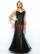 $538 Fabulous Mac Duggal Black Bow Mermaid Gown Prom Ballgown Pageant Dress 6 8