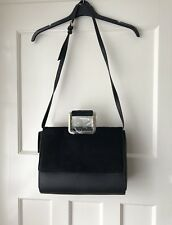 Zara Black City Bag With Faux Fur Flap Metal Handles