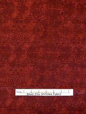 Christmas Fabric - Tree Heart Swirl Tonal Country Red RJR Holly Jolly - Yard
