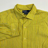 Polo by Ralph Lauren Button Up Shirt Men's Size XL Long Sleeve Yellow Striped