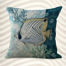 US Seller-home decor pillow cover cushion cover nautical ocean fish