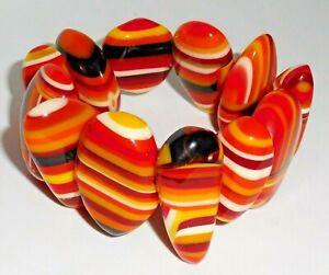 Sobral Rolling Stone Dice Red, Orange &Yellow Stripe Bead Bracelet Brazil Import