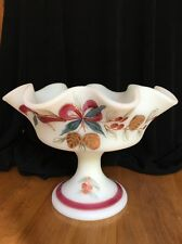 Fenton Ivory Christmas 1994 Compote/Bowl Hand painted Holden Pine Cones - Signed