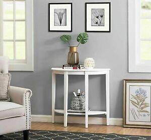 Modern Half Moon Console Table Hallway Or Living Room, Bottom Shelf White/Gold