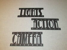 LIGHTS CAMERA ACTION Film Strips Wood Wall Words Sign Art Decor Movie Reel