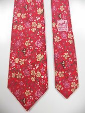 HERMES PARIS MADE IN FRANCE MENS 100% SILK NECK TIE RED ROSE FLORAL PRINT RARE