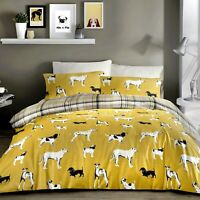 DOGS Ochre with Yellow & Grey Check Reversible Duvet Covers by Fusion