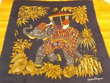 Extra Large Salvatore Ferragamo Indian Elephant Silk Scarf Shawl Foulard 52x56