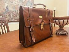 GOLDPFEIL Vintage Leather Double Belted Briefcase / Messenger Bag - West Germany