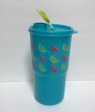 Tupperware Thirstquake Tumbler 30oz Watermelon Lemon Slice Design Aqua Blue New