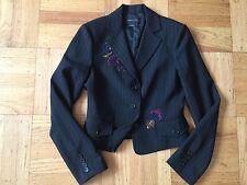 New BCBG Maxazria Black pinstriped sequin Embroidered blazer jacket sz Small