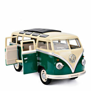 1:24 Toys Sound&Light Gifts Alloy Diecast Green Vw Classical Bus 1962 Model Cars