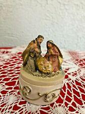 "Christmas Trinket Box, Infant Jesus, Mary & Joseph Kneeling 2-1/2""H, Resin  New"