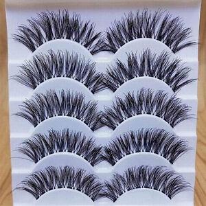 5Pairs Gracious Makeup Handmade Natural Long False Eyelashes Extension Exquisite