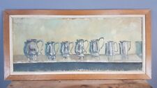 Large Decorative Oil on Board of Tankards