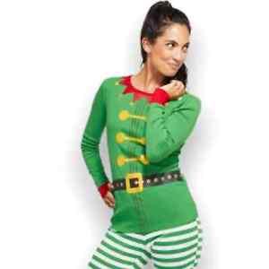 Kid's Holiday Elf Christmas Pajama Long Sleeve Sleep Shirt Top Size Large