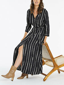 JD Williams Mono Stripe Maxi Shirt Dress Sizes 12 or 20 RRP £35