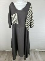 NWT $198 Noblu Alexandra Ilyin Grey Asymmetrical Dress Short Sleeve Size L/XL
