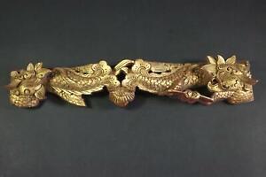 Chinesisches Zierelement 2 Drachen geschnitzte verg. Holzfigur China(BI9358)