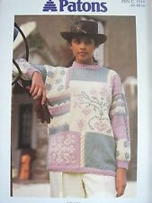 3760268e532be4 PATONS 5018 - LADIES ARAN SNOWFLAKE SAMPLER SWEATER KNITTING PATTERN 30 40in