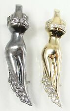 Sterling Silver Vermeil Mannequin Dress Pin Brooch Set of 2 Art Deco Style