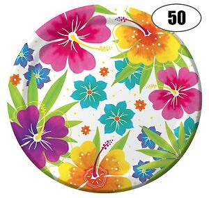 Tropical Hawaiian Luau Flower Paper Plates 50 Per Pack